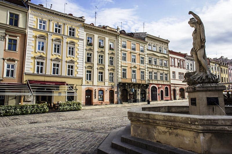 The central square of the city of Lviv Market