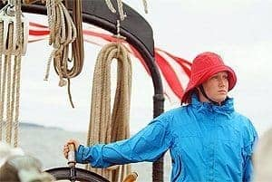 A crew member on a windjammer off the coast of Maine.