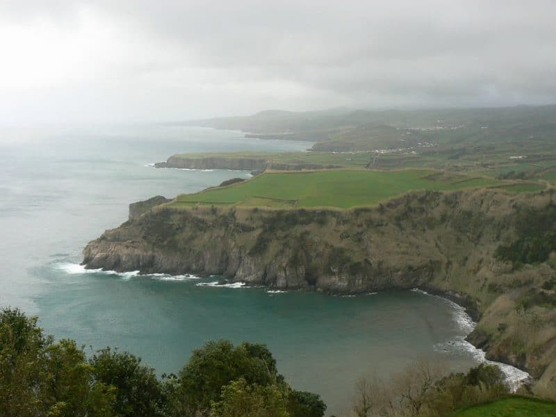 The Azores Islands are green, lush, and sometimes rainy. Views like this are typical. Max Hartshorne photos.
