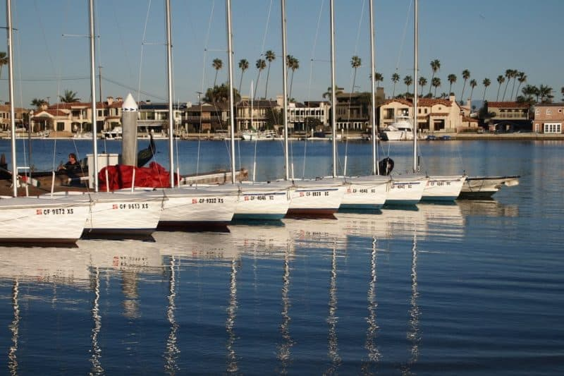 Sailboats for rent in Alamitos Bay, California.