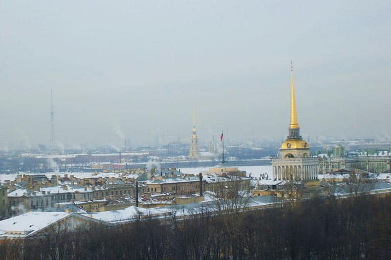 View of St. Petersburg showing the Admiralty, with its famous gilded spire, and the Cathedral of St. Peter and St. Paul.