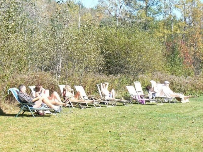 Enjoying a sunny Sunday in the buff at Vermont's only clothing optional resort in Halifax.
