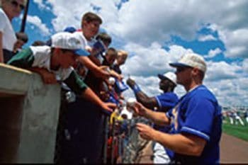 Fans of the Wilmington Delaware Blue Rocks with players