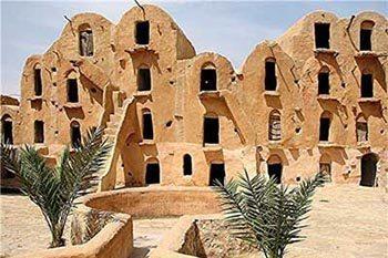 Ancient mud buildings in Tunisia.