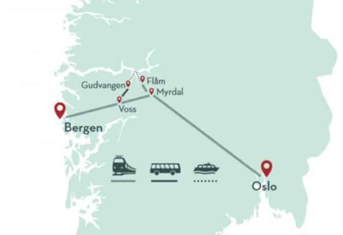 You can travel from Bergen to Oslo, or the other way, and experience ferries, buses and trains through the fjords.