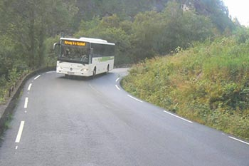 The bus climbing the steep mountain roads from Voss.