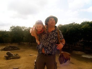Jon and Loulou Voeklel ascend a Mayan Pyramid.
