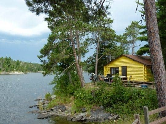 Rustic fishing cabin at the Lake of the Woods, Northern Canada.