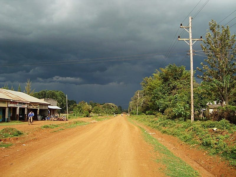The main road in Sigomere, Kenya, before a rainstorm.