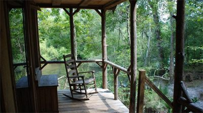 The porch of a treehouse where the author stayed in South Carolina.