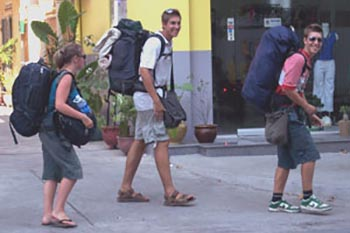 Backpackers in Europe.