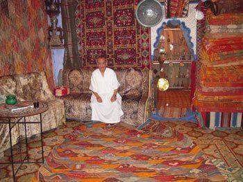 A carpet shop in Morocco. photo by Ann Banks.