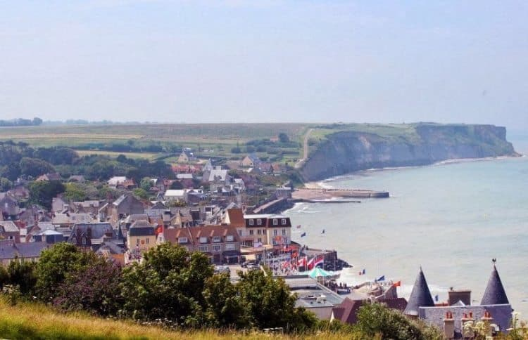 Looking down at the D-Day beaches near Arromanches, Normandy France.
