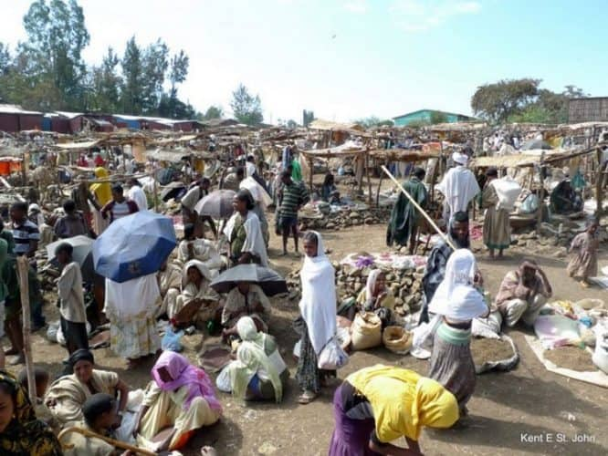 Market day is a busy time in villages throughout Ethiopia