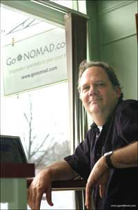 GoNOMAD Editor Max Hartshorne at the GoNOMAD internet Cafe