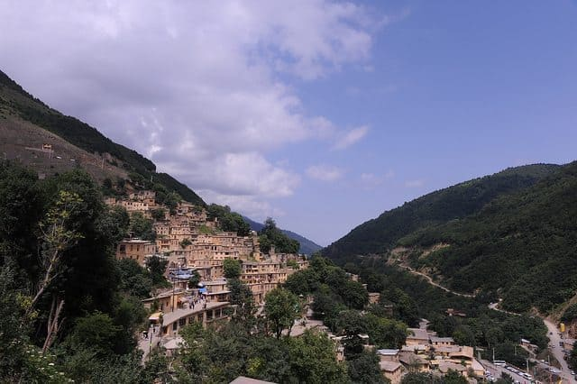 The town is nestled into a mountainside in rural Iran.