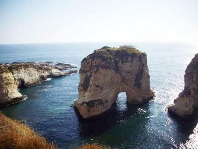 Pigeon's Rock from the Corniche Beirut, a seaside boulevard in the Lebanese capital.