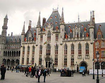 spires of the Provincial Administration building in Bruges, Belgium