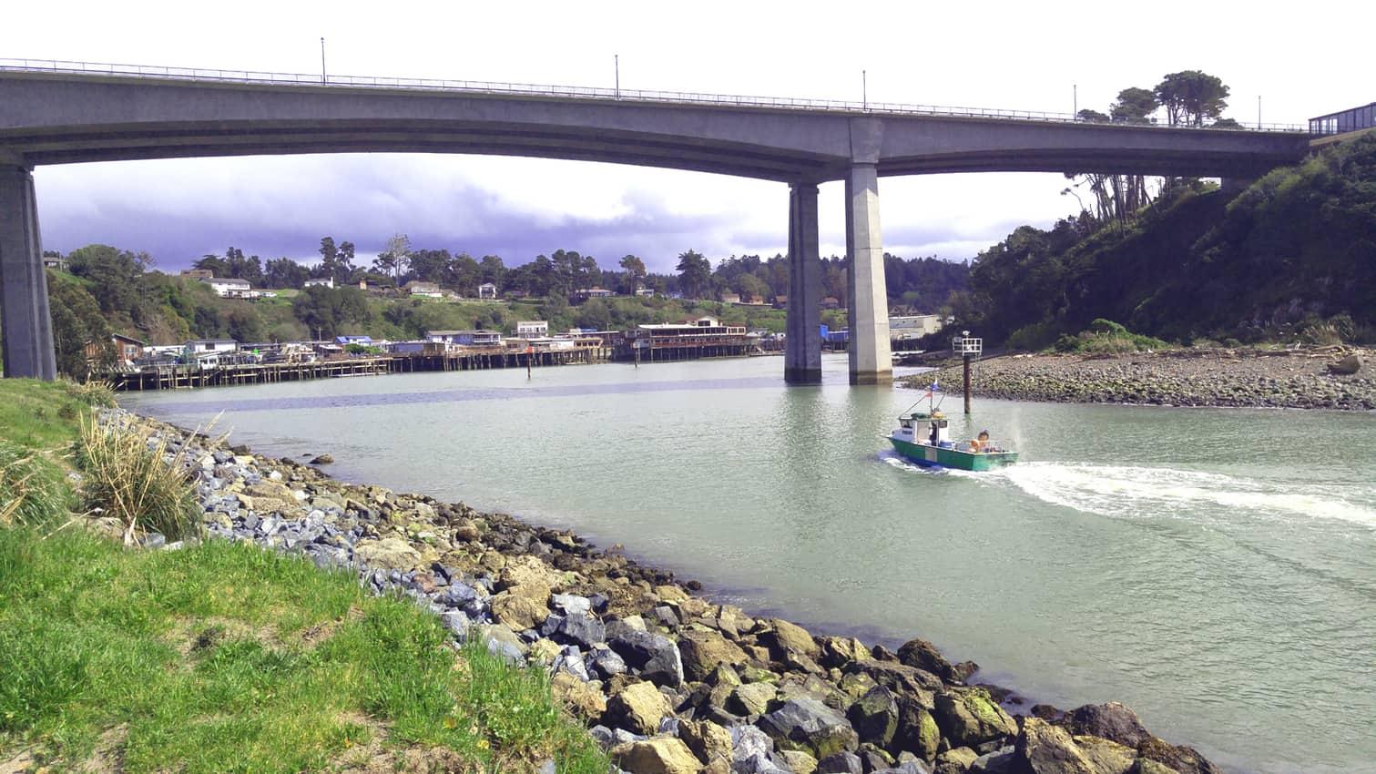 Noyo River Bridge and Noyo Harbor, Fort Bragg CA.