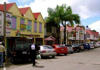 Colorful downtown St John, Antigua.