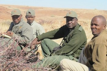 Rhino trackers in Namibia.