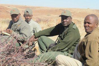 Rhino trackers in Namibia.