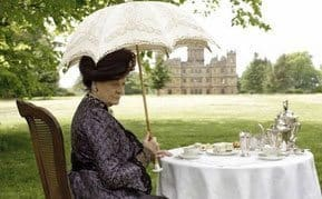old lady having tea in the PBS TV show, Downton Abbey.