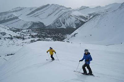 skiers in Alberta Canada.