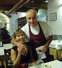 Cindy Bigras with a chef in Florence, Italy.