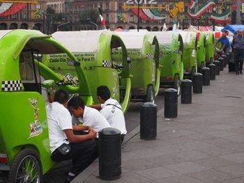 green-pedicabs in Mexico City.
