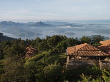 View of Lake Kivu from Virunga Lodge Rwanda. Photo: Mahlatini African Travel.