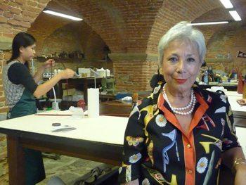 Laura Gori, General Manager of La Scuola del Cuoio, the leatherworking school. in Florence.