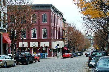 Shockoe Slip historic Richmond, VA, complete with cobblestones.