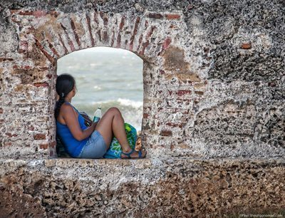 Cartagena's 11 kilometer wall is great for strolling, and surrounds the historic old city. Paul Shoul photo.