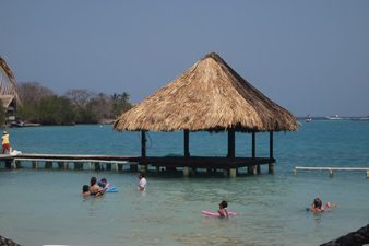 The beach at Ile de Sol, an island off the coast of Cartagena on the Caribbean. Max Hartshorne photo.