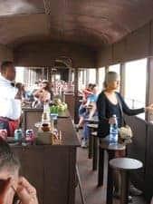 Inside the steam train.