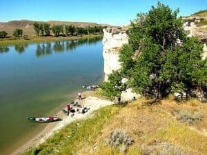 Lunch by the canoes on the Missouri River.