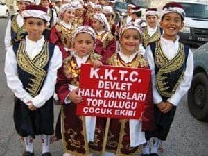 Children in traditional folk dancing costumes in North Cyprus.