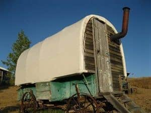 The sheep wagon--a great place to sleep.