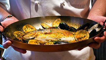 Culinary creation of fish at Street and Co., Portland, Maine.