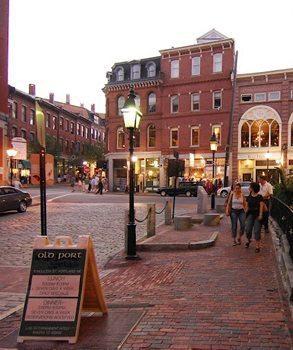 Portland Maine's Old Port area, always bustling. photos by Herb Hiller.