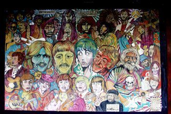 Mural in Greenwich Village depicting great musicians of the '60s.