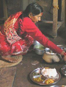 Dinner in Nepal.