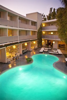 The pool at the Avalon Beverly Hills. A few too many locals squeeze out the guests!