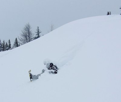 Bailing out of a snowshoe in Banff, Alberta. photos by Gary Pearson.