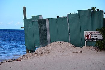 The big green fence at the nude beach in Montego Bay, Jamaica.