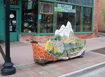 A park bench in Manitou Springs.