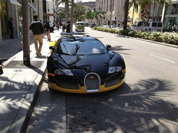 A million dollar Bugatti Veyron on Rodeo Drive.