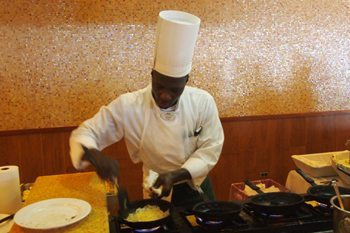 Always choose a custom-made omelette at the Sunset buffet. Carleton will take care of you.