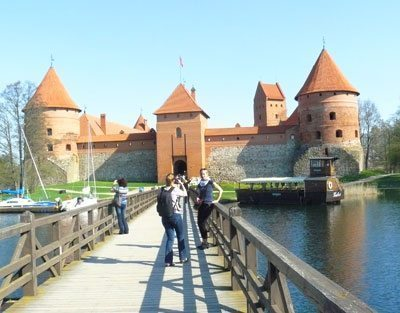 Tourists at Takai Castle in on Lake Galv? in Lithuania. Photos by Stephen Hartshorne